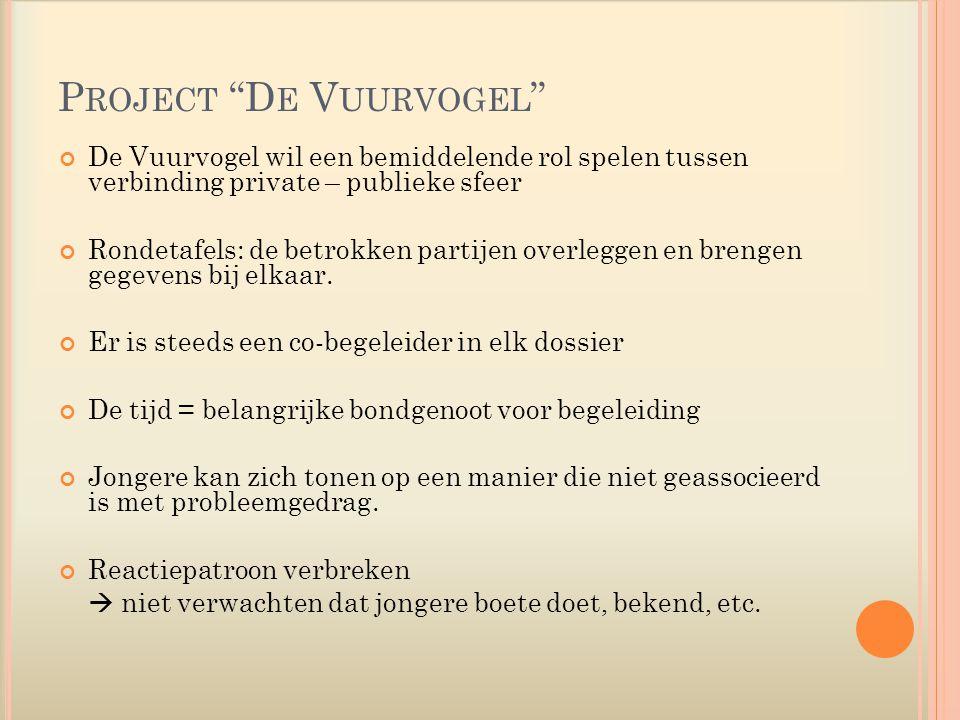 P ROJECT D E V UURVOGEL De Vuurvogel wil een bemiddelende rol spelen tussen verbinding private – publieke sfeer Rondetafels: de betrokken partijen overleggen en brengen gegevens bij elkaar.