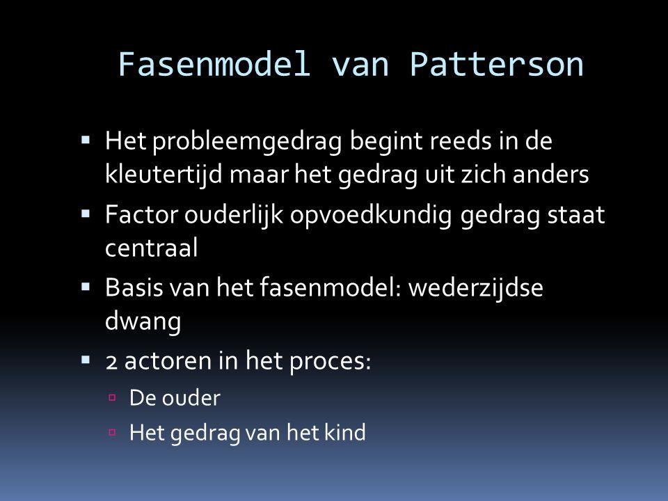Fasenmodel van Patterson  Het probleemgedrag begint reeds in de kleutertijd maar het gedrag uit zich anders  Factor ouderlijk opvoedkundig gedrag st