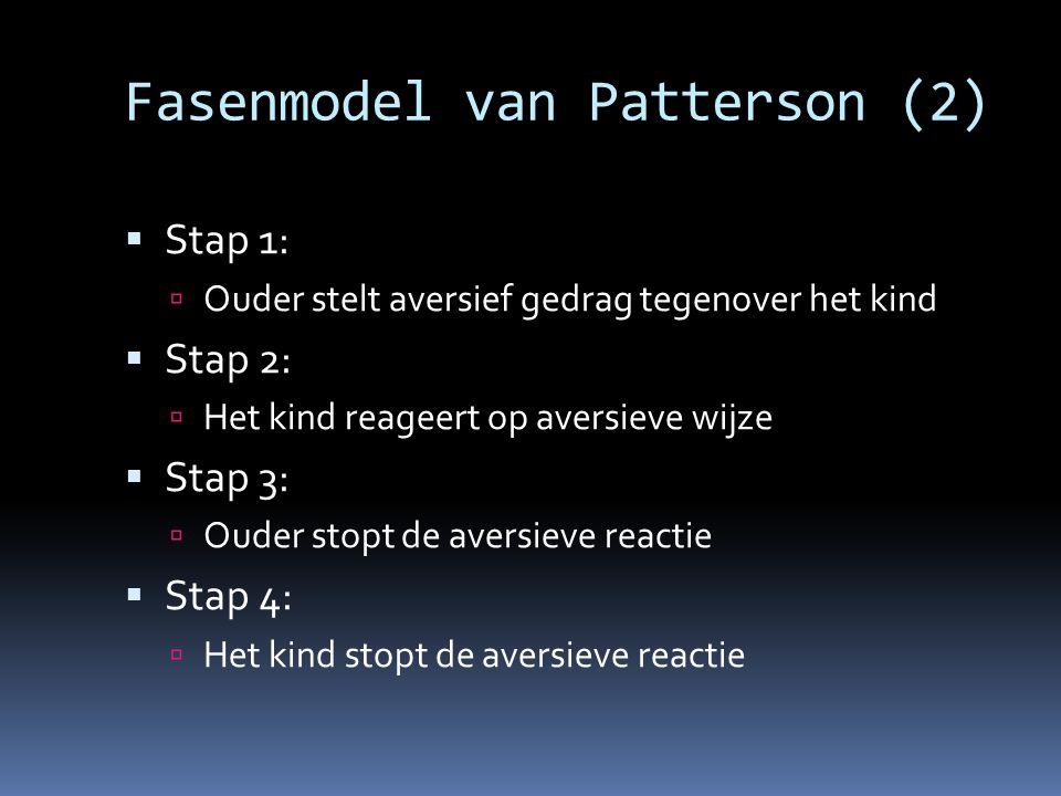 Fasenmodel van Patterson (2)  Stap 1:  Ouder stelt aversief gedrag tegenover het kind  Stap 2:  Het kind reageert op aversieve wijze  Stap 3:  O