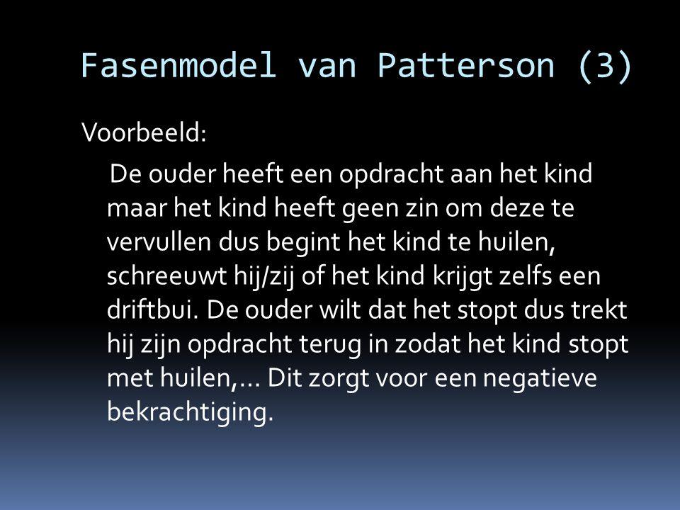 Fasenmodel van Patterson (3) Voorbeeld: De ouder heeft een opdracht aan het kind maar het kind heeft geen zin om deze te vervullen dus begint het kind