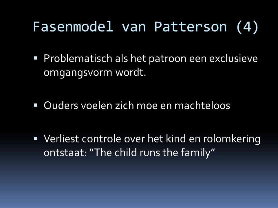 Fasenmodel van Patterson (4)  Problematisch als het patroon een exclusieve omgangsvorm wordt.  Ouders voelen zich moe en machteloos  Verliest contr