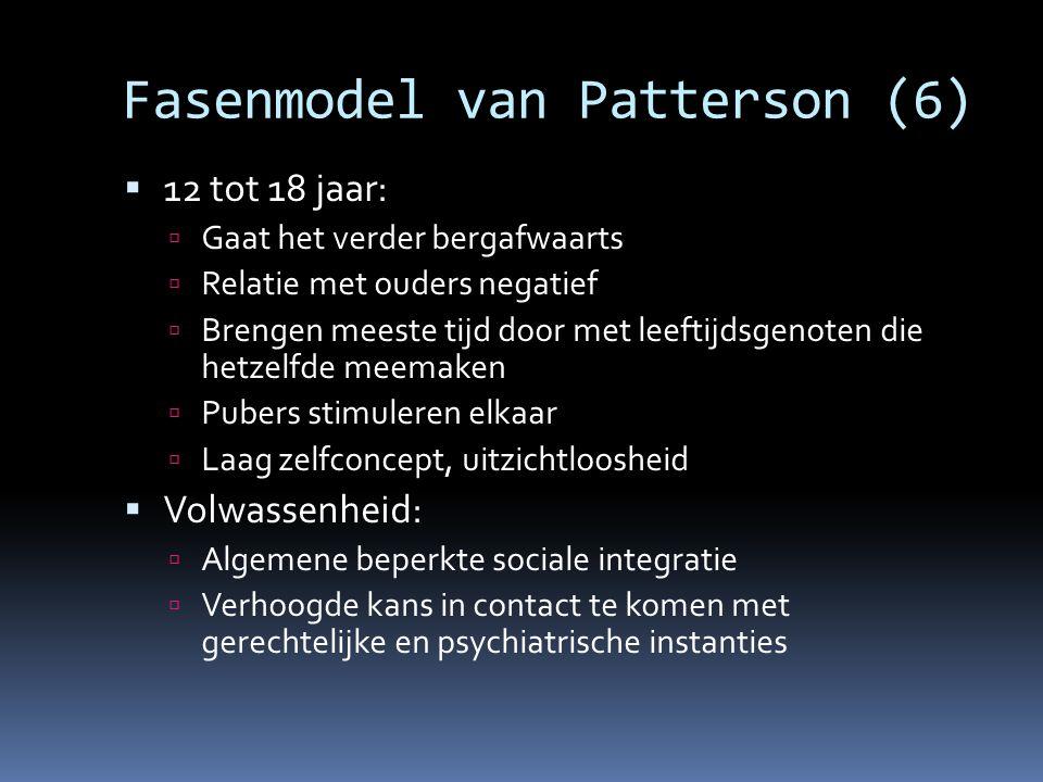 Fasenmodel van Patterson (6)  12 tot 18 jaar:  Gaat het verder bergafwaarts  Relatie met ouders negatief  Brengen meeste tijd door met leeftijdsge