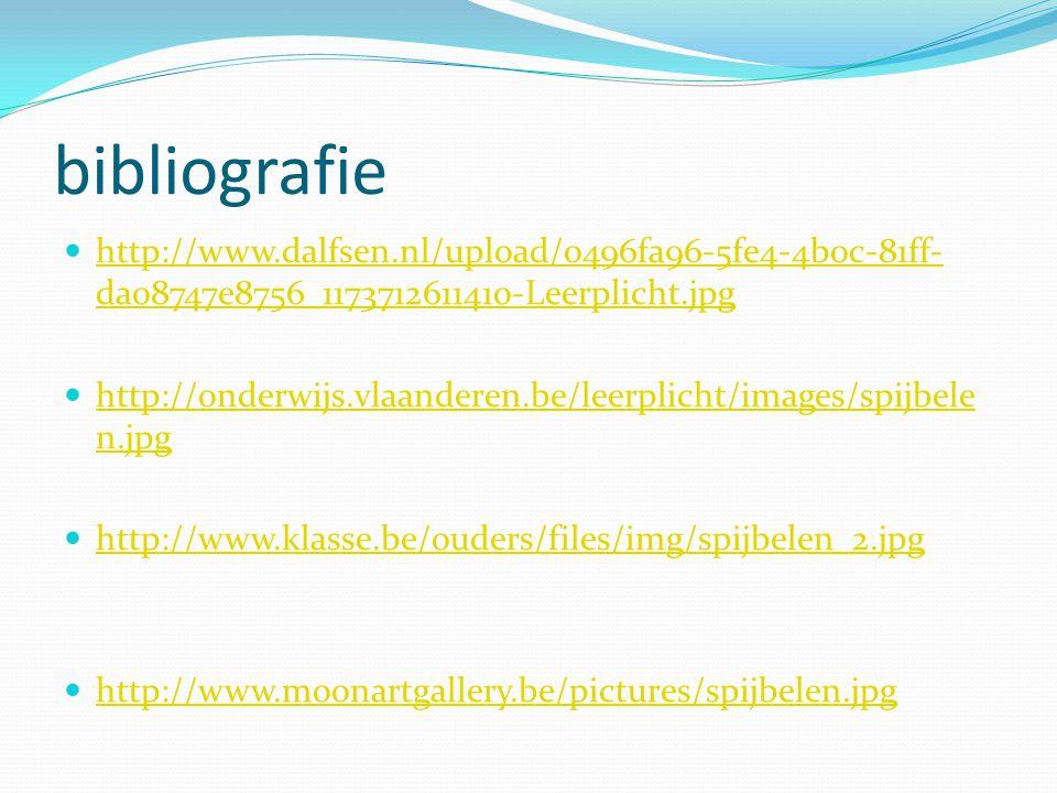 bibliografie http://www.dalfsen.nl/upload/0496fa96-5fe4-4b0c-81ff- da08747e8756_1173712611410-Leerplicht.jpg http://www.dalfsen.nl/upload/0496fa96-5fe4-4b0c-81ff- da08747e8756_1173712611410-Leerplicht.jpg http://onderwijs.vlaanderen.be/leerplicht/images/spijbele n.jpg http://onderwijs.vlaanderen.be/leerplicht/images/spijbele n.jpg http://www.klasse.be/ouders/files/img/spijbelen_2.jpg http://www.moonartgallery.be/pictures/spijbelen.jpg