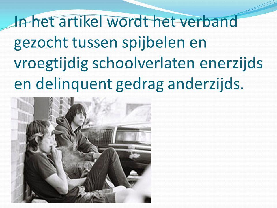 In het artikel wordt het verband gezocht tussen spijbelen en vroegtijdig schoolverlaten enerzijds en delinquent gedrag anderzijds.