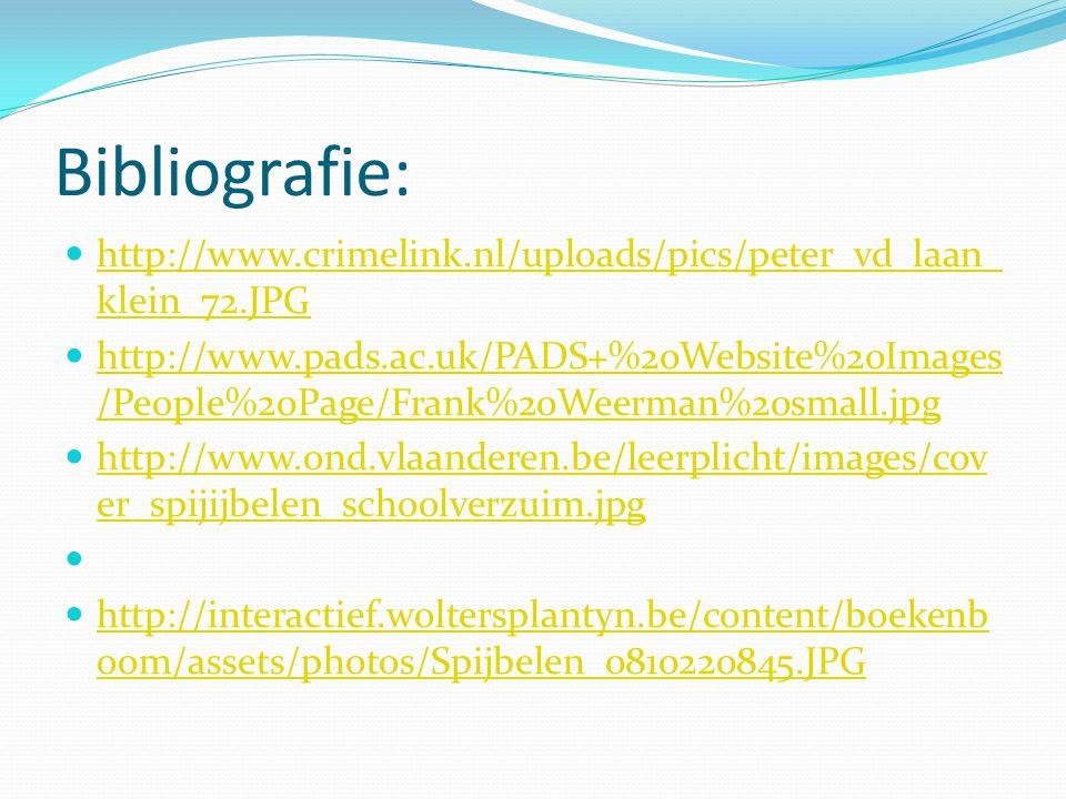 Bibliografie: http://www.crimelink.nl/uploads/pics/peter_vd_laan_ klein_72.JPG http://www.crimelink.nl/uploads/pics/peter_vd_laan_ klein_72.JPG http://www.pads.ac.uk/PADS+%20Website%20Images /People%20Page/Frank%20Weerman%20small.jpg http://www.pads.ac.uk/PADS+%20Website%20Images /People%20Page/Frank%20Weerman%20small.jpg http://www.ond.vlaanderen.be/leerplicht/images/cov er_spijijbelen_schoolverzuim.jpg http://www.ond.vlaanderen.be/leerplicht/images/cov er_spijijbelen_schoolverzuim.jpg http://interactief.woltersplantyn.be/content/boekenb oom/assets/photos/Spijbelen_0810220845.JPG http://interactief.woltersplantyn.be/content/boekenb oom/assets/photos/Spijbelen_0810220845.JPG