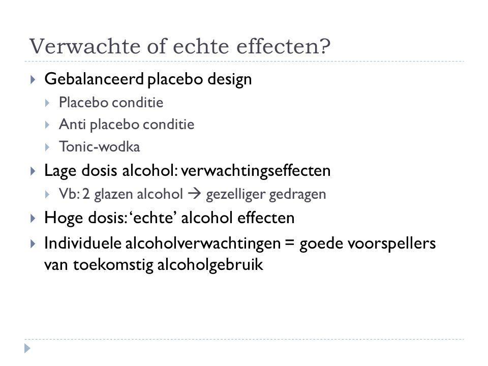 Verwachte of echte effecten?  Gebalanceerd placebo design  Placebo conditie  Anti placebo conditie  Tonic-wodka  Lage dosis alcohol: verwachtings