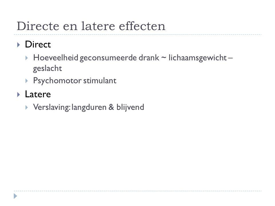 Directe en latere effecten  Direct  Hoeveelheid geconsumeerde drank ~ lichaamsgewicht – geslacht  Psychomotor stimulant  Latere  Verslaving: lang