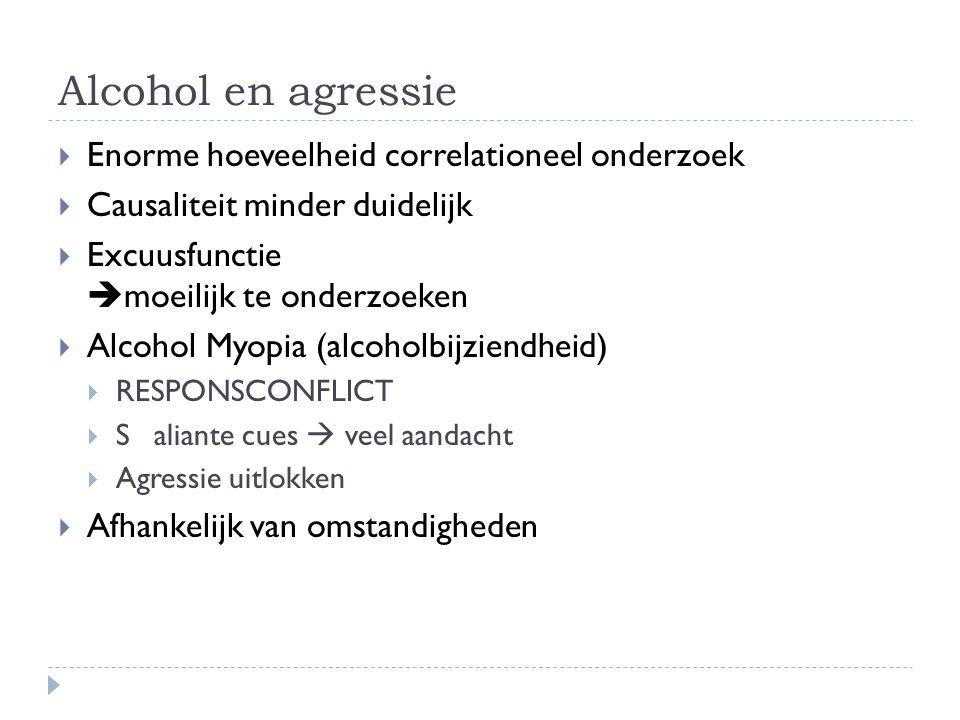 Alcohol en agressie EEnorme hoeveelheid correlationeel onderzoek CCausaliteit minder duidelijk EExcuusfunctie  moeilijk te onderzoeken AAlcoh