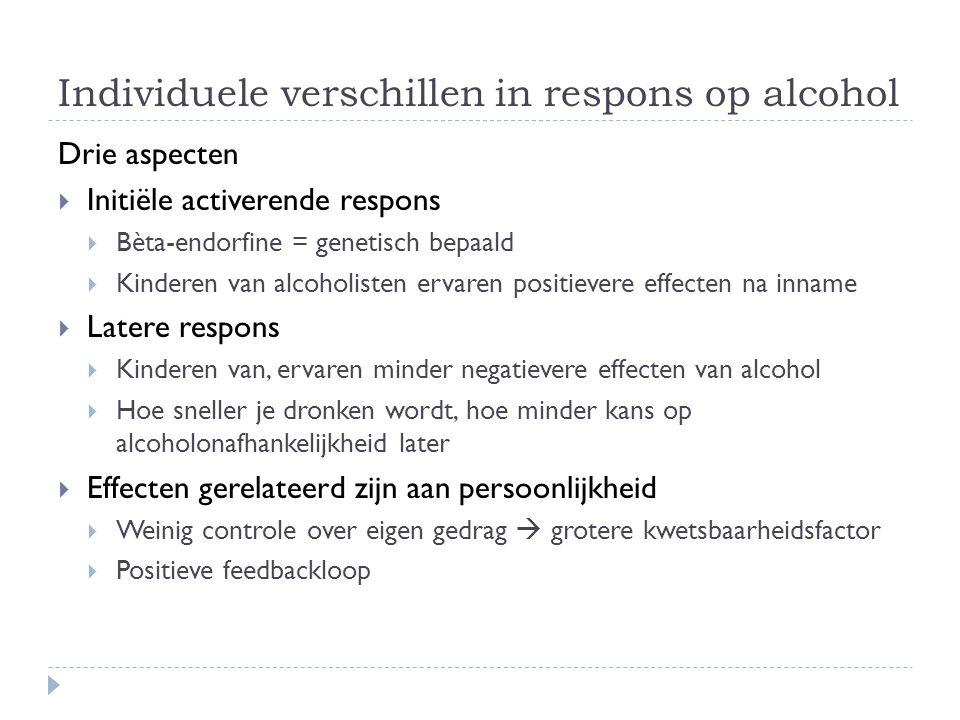 Individuele verschillen in respons op alcohol Drie aspecten  Initiële activerende respons  Bèta-endorfine = genetisch bepaald  Kinderen van alcohol