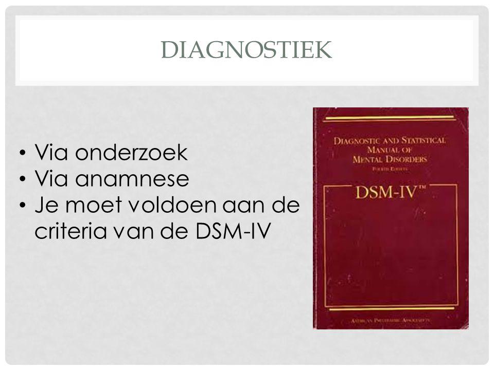 DIAGNOSTIEK Via onderzoek Via anamnese Je moet voldoen aan de criteria van de DSM-IV