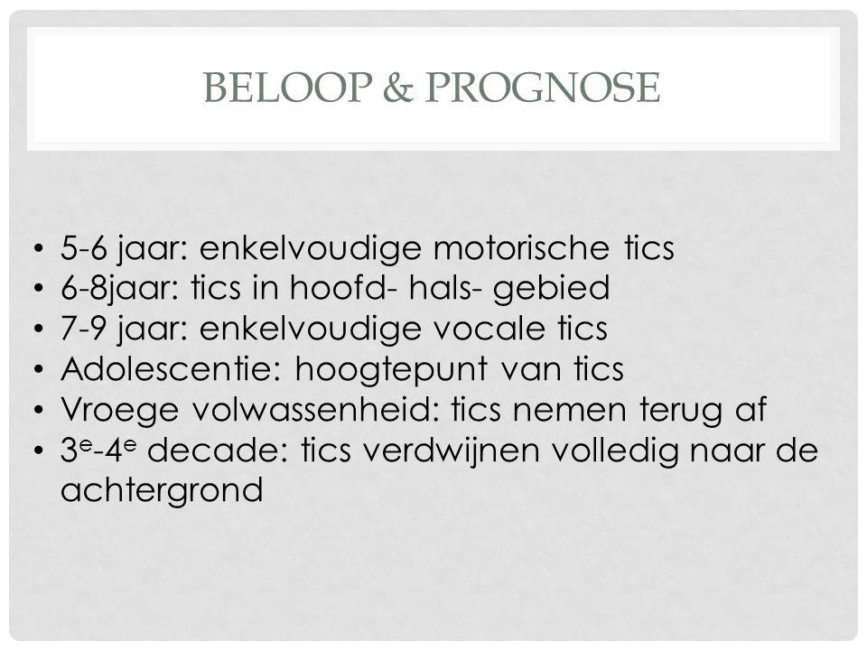 BELOOP & PROGNOSE 5-6 jaar: enkelvoudige motorische tics 6-8jaar: tics in hoofd- hals- gebied 7-9 jaar: enkelvoudige vocale tics Adolescentie: hoogtep