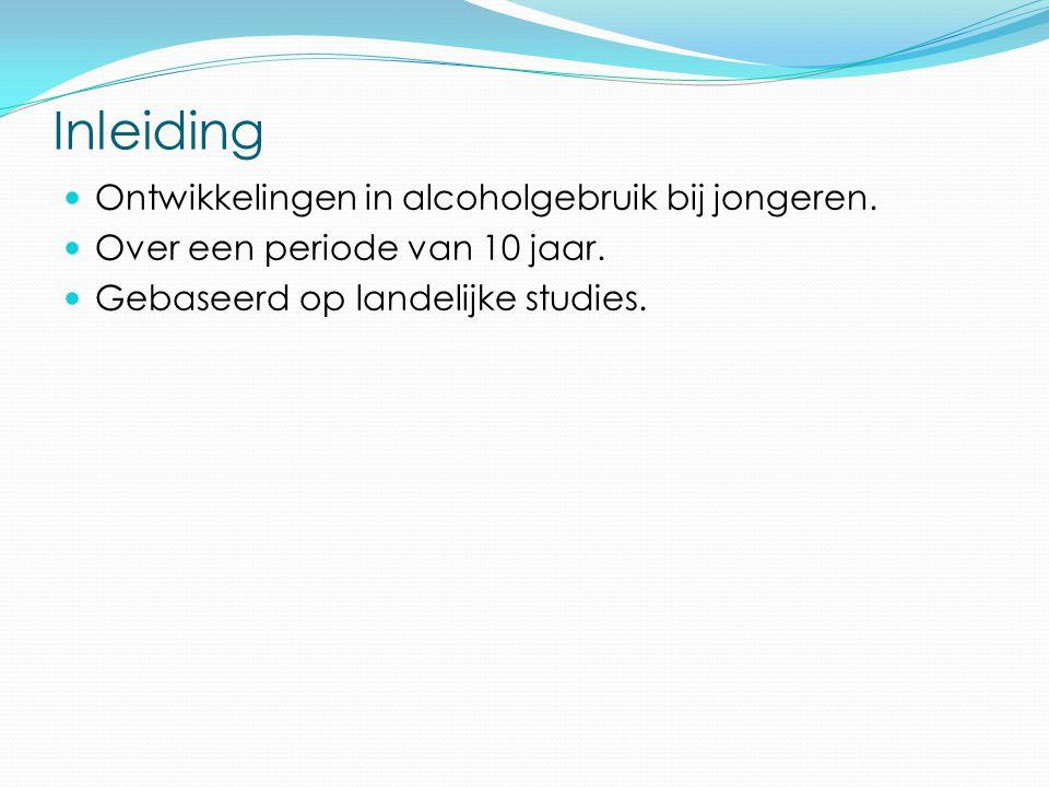 Inhoudstafel Inleiding Scholieren en jongeren van 15-24 jarigen Probleemgebruik Gevolgen voor de hersenen Alcoholproblematiek op volwassen leeftijd Agressie, seksueel risicogedrag ongevallen Besluit