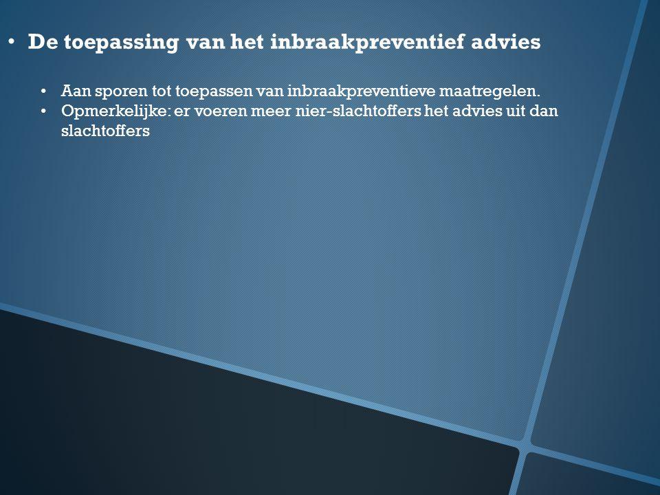De toepassing van het inbraakpreventief advies Aan sporen tot toepassen van inbraakpreventieve maatregelen. Opmerkelijke: er voeren meer nier-slachtof