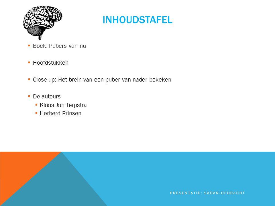 INHOUDSTAFEL  Boek: Pubers van nu  Hoofdstukken  Close-up: Het brein van een puber van nader bekeken  De auteurs  Klaas Jan Terpstra  Herberd Pr
