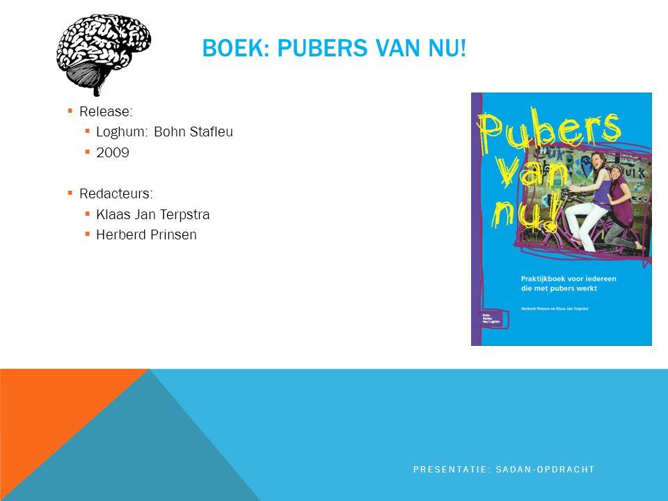 BOEK: PUBERS VAN NU!  Release:  Loghum: Bohn Stafleu  2009  Redacteurs:  Klaas Jan Terpstra  Herberd Prinsen PRESENTATIE: SADAN-OPDRACHT
