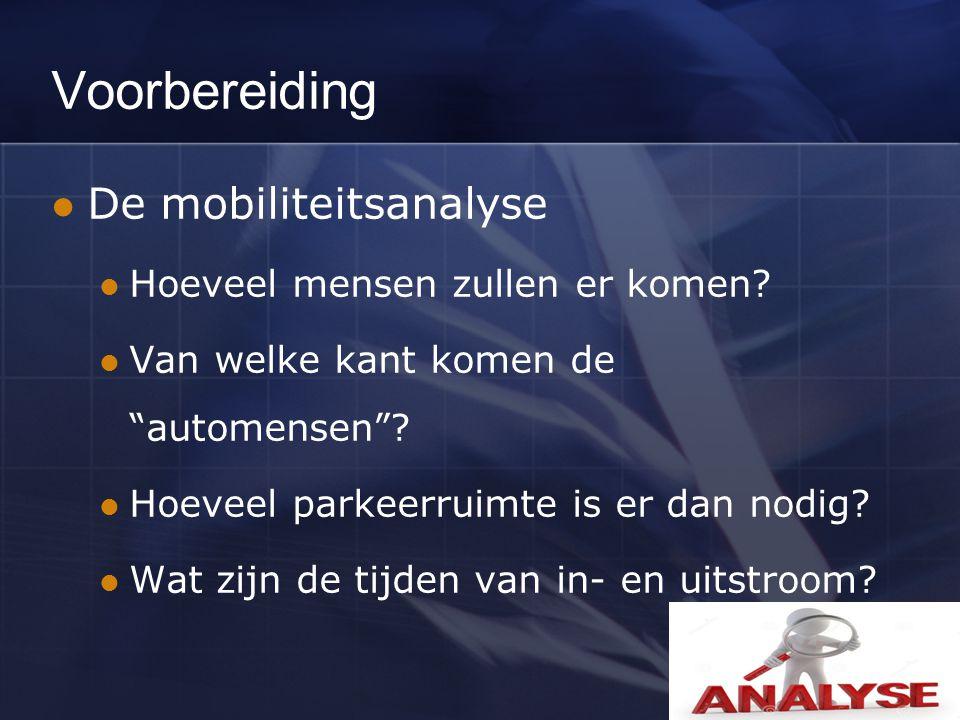 Na mobiliteitsanalyse komt een verkeersplan Alle aspecten rond mobiliteit verwerken Circulatieplan Parkeerindeling Bebordingsplan Personeelsplanning Overleg met openbaar vervoer … Bron: www.autorijden.be