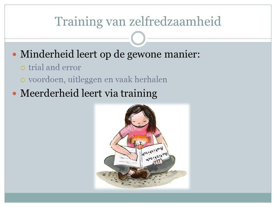 Training van zelfredzaamheid Minderheid leert op de gewone manier:  trial and error  voordoen, uitleggen en vaak herhalen Meerderheid leert via trai