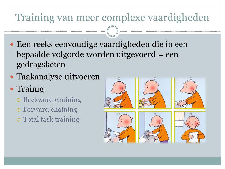 Training van meer complexe vaardigheden Een reeks eenvoudige vaardigheden die in een bepaalde volgorde worden uitgevoerd = een gedragsketen Taakanalys