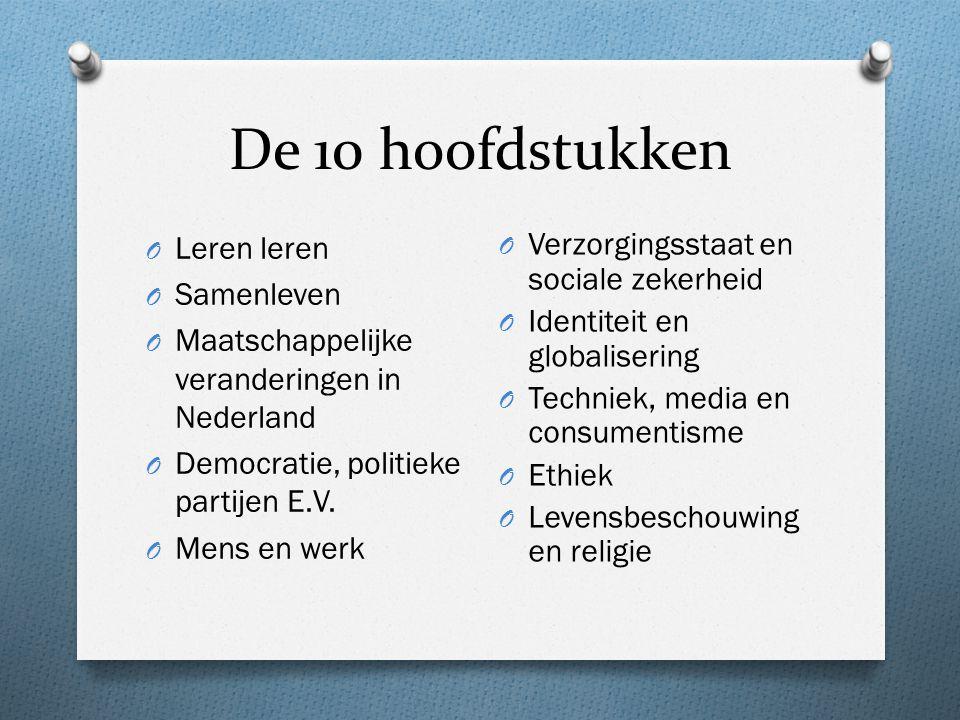De 10 hoofdstukken O Leren leren O Samenleven O Maatschappelijke veranderingen in Nederland O Democratie, politieke partijen E.V.