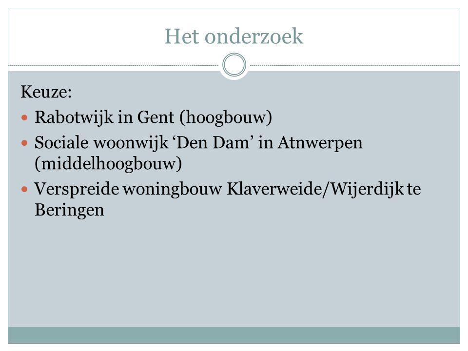 Het onderzoek Keuze: Rabotwijk in Gent (hoogbouw) Sociale woonwijk 'Den Dam' in Atnwerpen (middelhoogbouw) Verspreide woningbouw Klaverweide/Wijerdijk