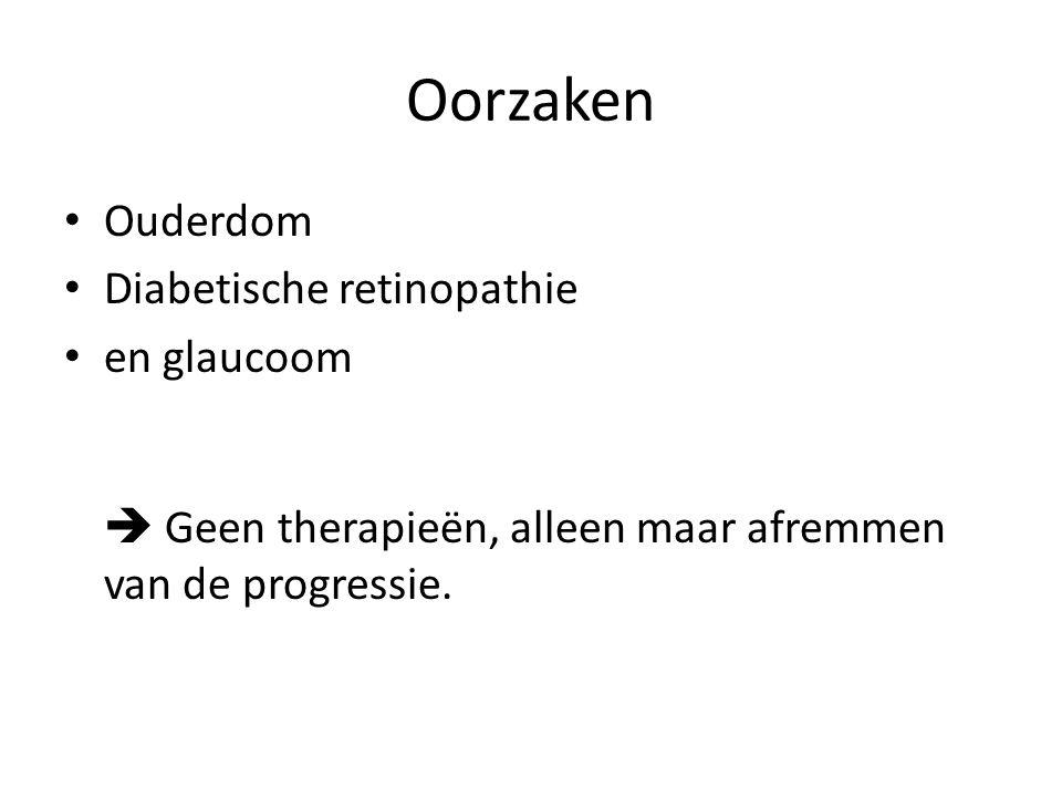 Oorzaken Ouderdom Diabetische retinopathie en glaucoom  Geen therapieën, alleen maar afremmen van de progressie.