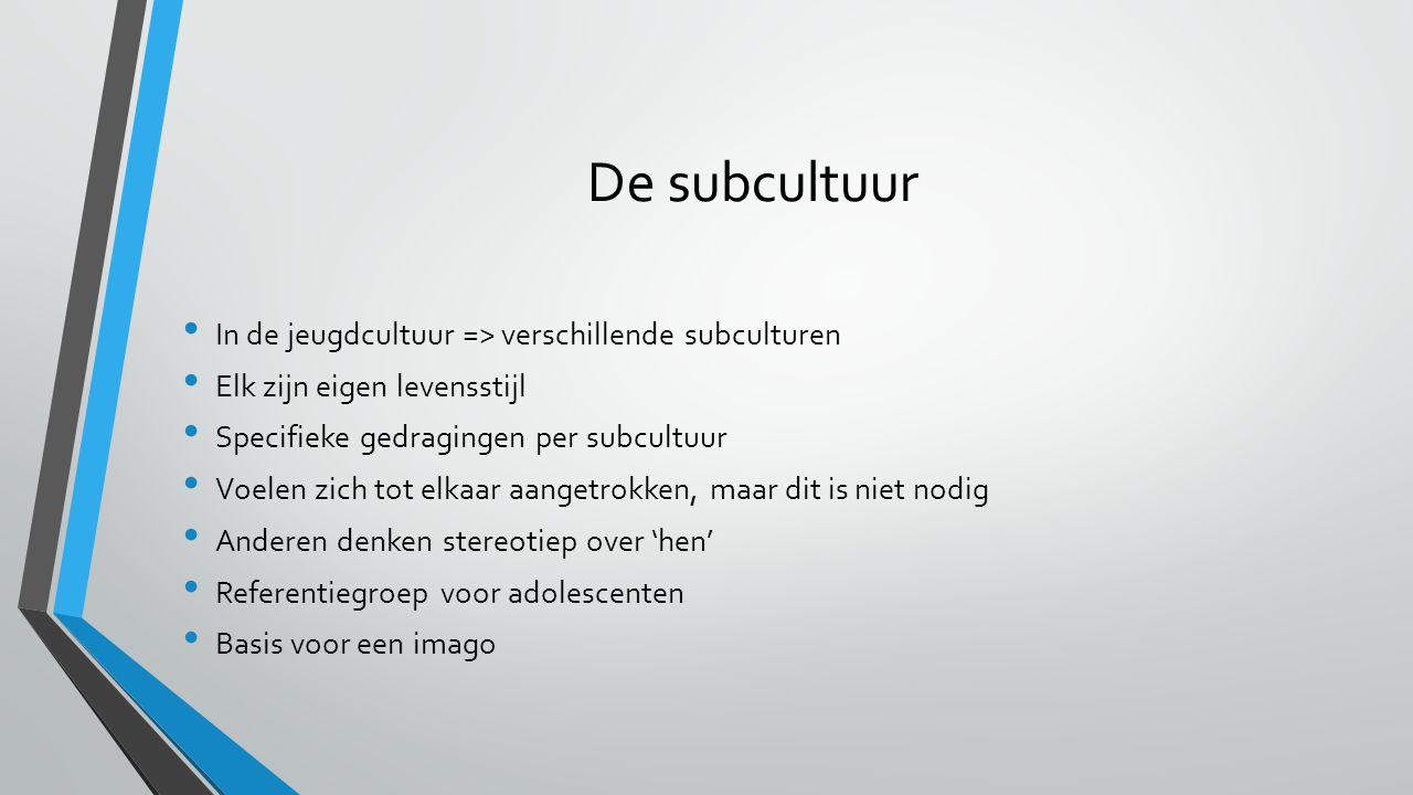 De subcultuur In de jeugdcultuur => verschillende subculturen Elk zijn eigen levensstijl Specifieke gedragingen per subcultuur Voelen zich tot elkaar