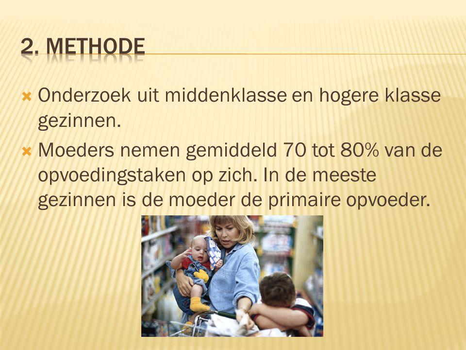  Onderzoek uit middenklasse en hogere klasse gezinnen.  Moeders nemen gemiddeld 70 tot 80% van de opvoedingstaken op zich. In de meeste gezinnen is