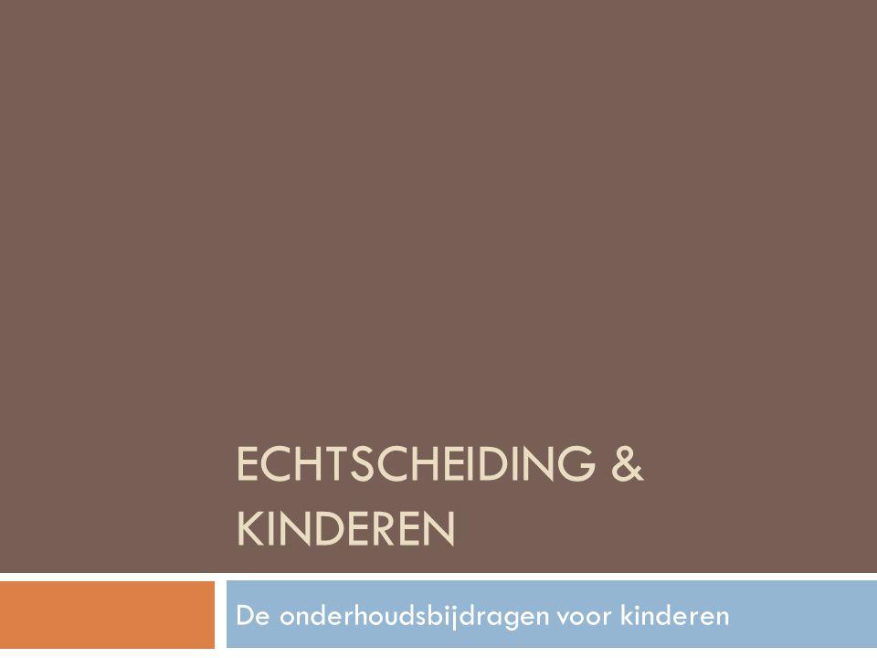 Onderhoudsbijdragen voor kinderen  Inleiding  Inkomsten van de ouders  Verschillende begrotingswijzen  Verschillende kosten  Verblijfsregeling van het kind