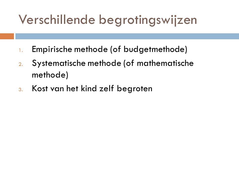 Verschillende begrotingswijzen 1. Empirische methode (of budgetmethode) 2. Systematische methode (of mathematische methode) 3. Kost van het kind zelf