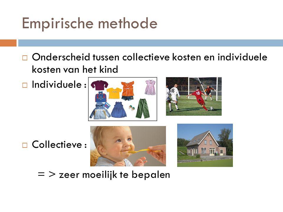 Empirische methode  Onderscheid tussen collectieve kosten en individuele kosten van het kind  Individuele :  Collectieve : = > zeer moeilijk te bep