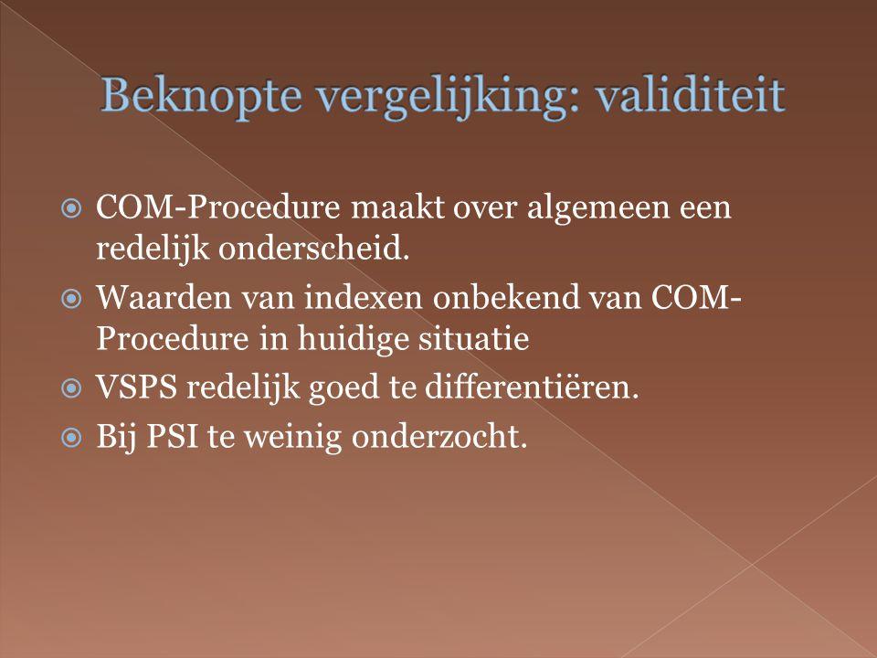  COM-Procedure maakt over algemeen een redelijk onderscheid.
