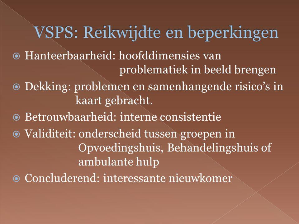  Hanteerbaarheid: hoofddimensies van problematiek in beeld brengen  Dekking: problemen en samenhangende risico's in kaart gebracht.