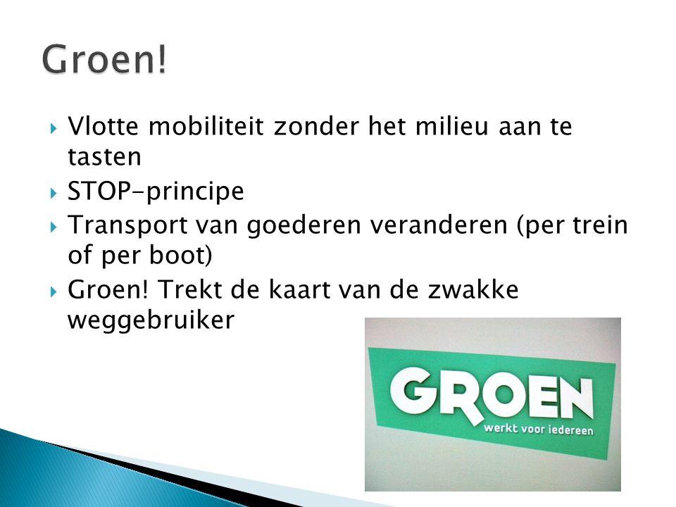  Vlotte mobiliteit zonder het milieu aan te tasten  STOP-principe  Transport van goederen veranderen (per trein of per boot)  Groen! Trekt de kaar