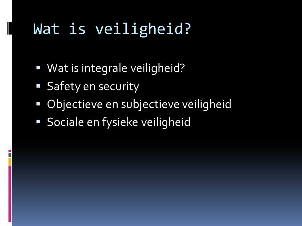 Wat is veiligheid?  Wat is integrale veiligheid?  Safety en security  Objectieve en subjectieve veiligheid  Sociale en fysieke veiligheid