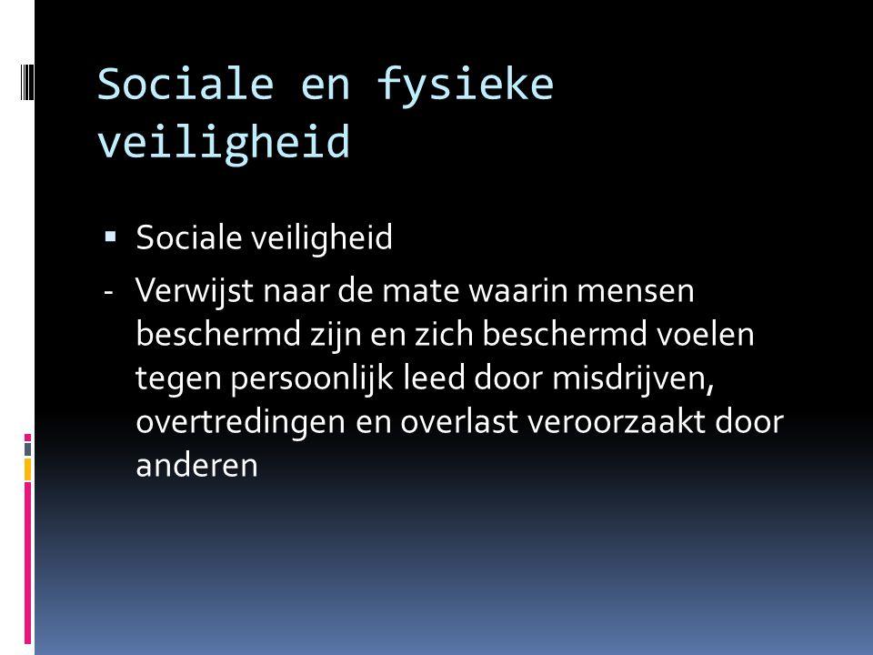 Sociale en fysieke veiligheid  Fysieke veilligheid - Is de mate waarin mensen beschermd zijn en zich beschermd voelen tegen persoonlijk leed door ongevallen en tegen onheil veroorzaakt door niet-menselijk handelen - Het is het gevaar waar de mens buiten staat, maar waarvan de natuur meestal de oorzaak van is