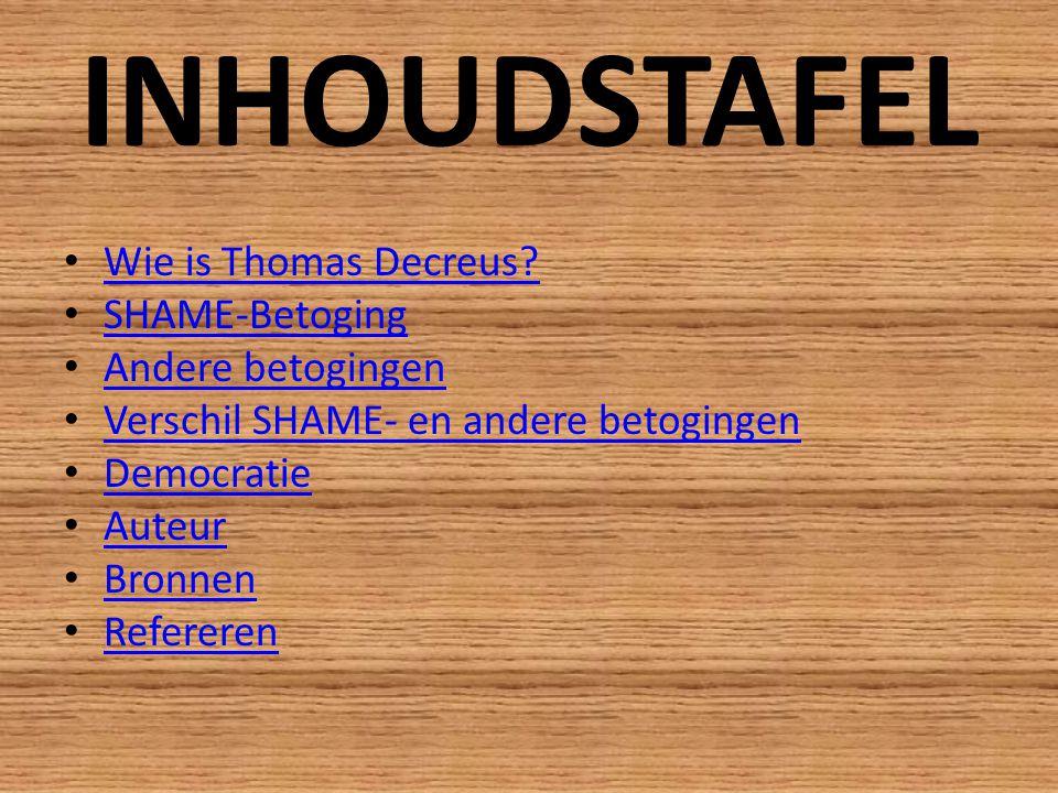 INHOUDSTAFEL Wie is Thomas Decreus.
