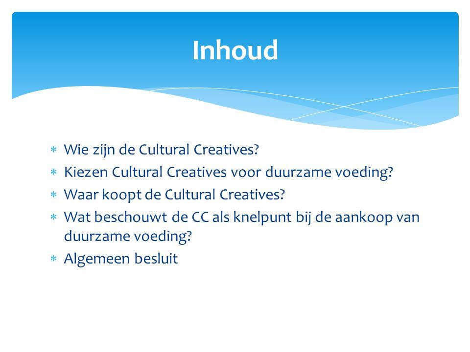  26-40 jarigen  Hoger opgeleiden  Bedienden  Zelfstandigen  Lager opgeleiden  Thuiswerkenden  Arbeidsongeschikten Wie zijn de Cultural Creatives?