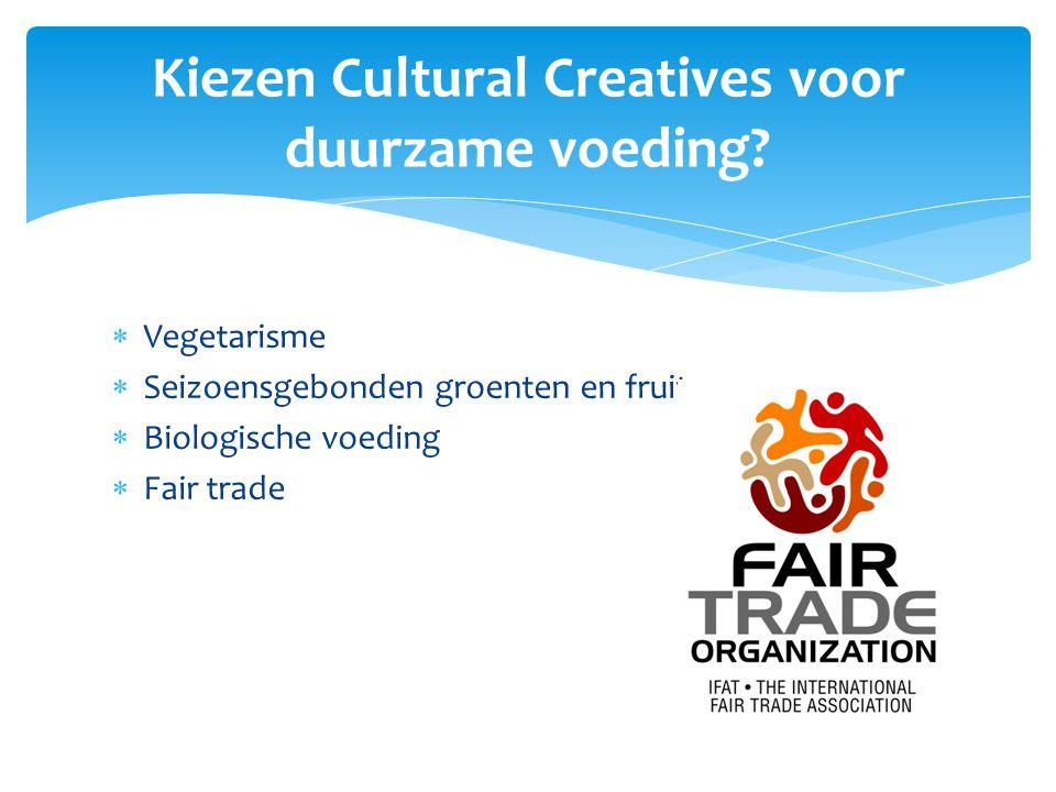  Vegetarisme  Seizoensgebonden groenten en fruit  Biologische voeding  Fair trade Kiezen Cultural Creatives voor duurzame voeding?