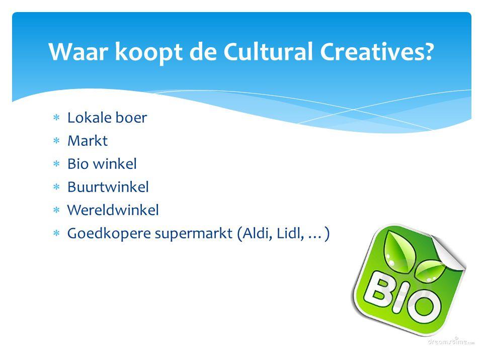  Lokale boer  Markt  Bio winkel  Buurtwinkel  Wereldwinkel  Goedkopere supermarkt (Aldi, Lidl, …) Waar koopt de Cultural Creatives?