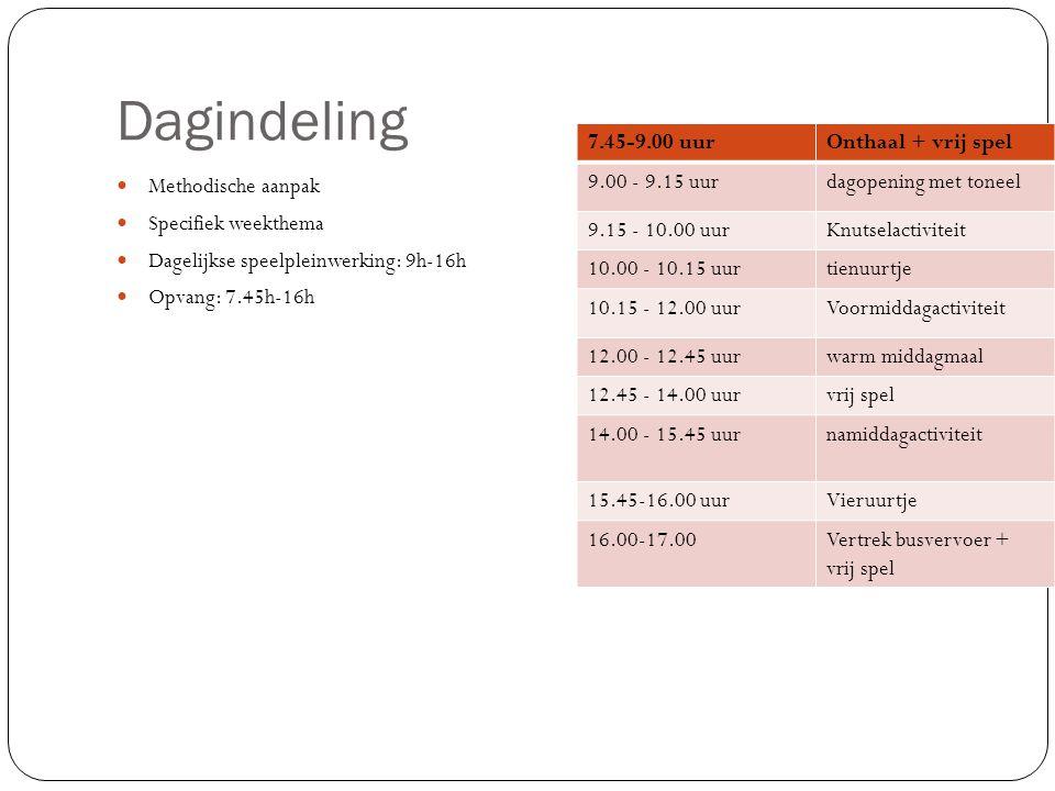Dagindeling Methodische aanpak Specifiek weekthema Dagelijkse speelpleinwerking: 9h-16h Opvang: 7.45h-16h 7.45-9.00 uurOnthaal + vrij spel 9.00 - 9.15