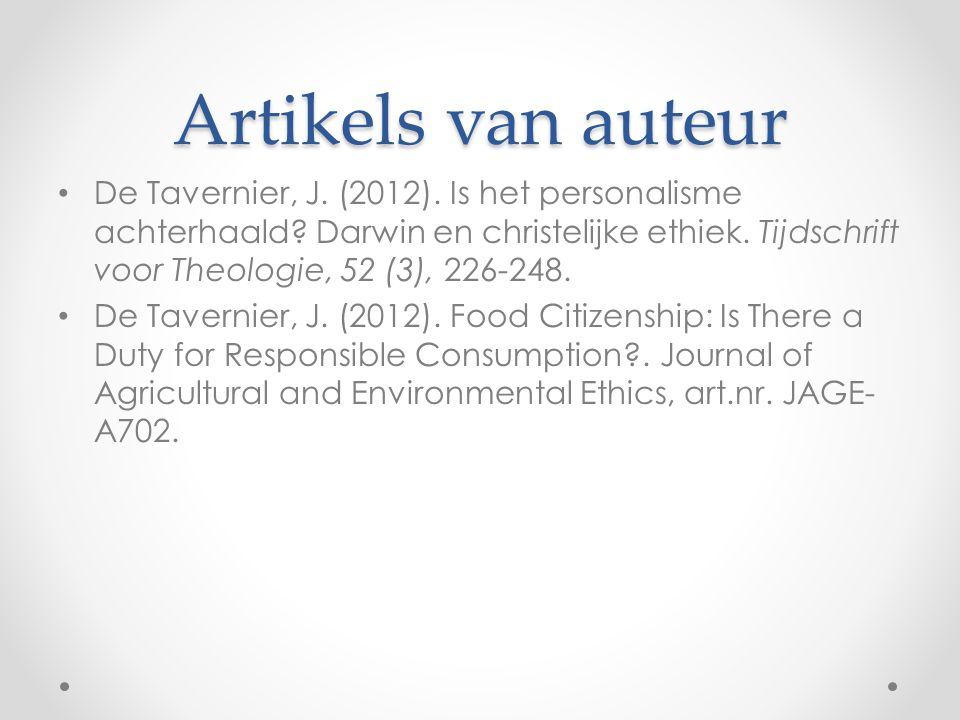 Artikels van auteur De Tavernier, J. (2012). Is het personalisme achterhaald.