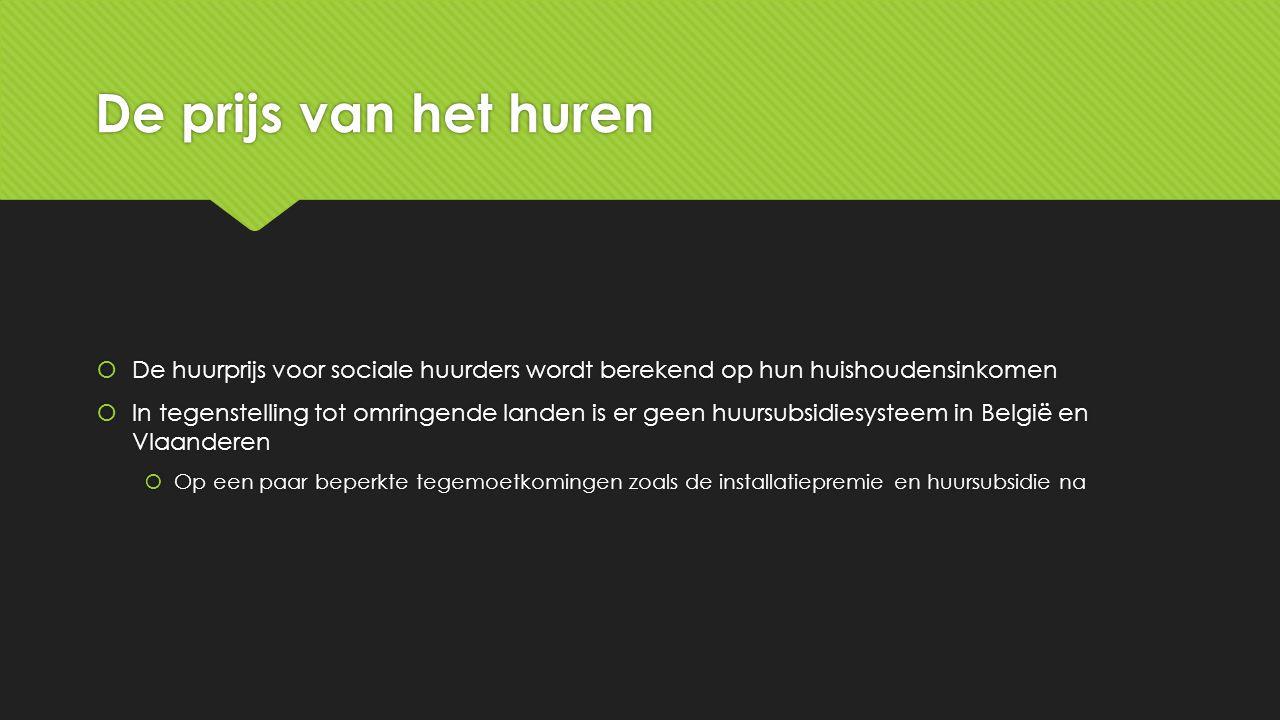 De prijs van het huren  De huurprijs voor sociale huurders wordt berekend op hun huishoudensinkomen  In tegenstelling tot omringende landen is er geen huursubsidiesysteem in België en Vlaanderen  Op een paar beperkte tegemoetkomingen zoals de installatiepremie en huursubsidie na  De huurprijs voor sociale huurders wordt berekend op hun huishoudensinkomen  In tegenstelling tot omringende landen is er geen huursubsidiesysteem in België en Vlaanderen  Op een paar beperkte tegemoetkomingen zoals de installatiepremie en huursubsidie na
