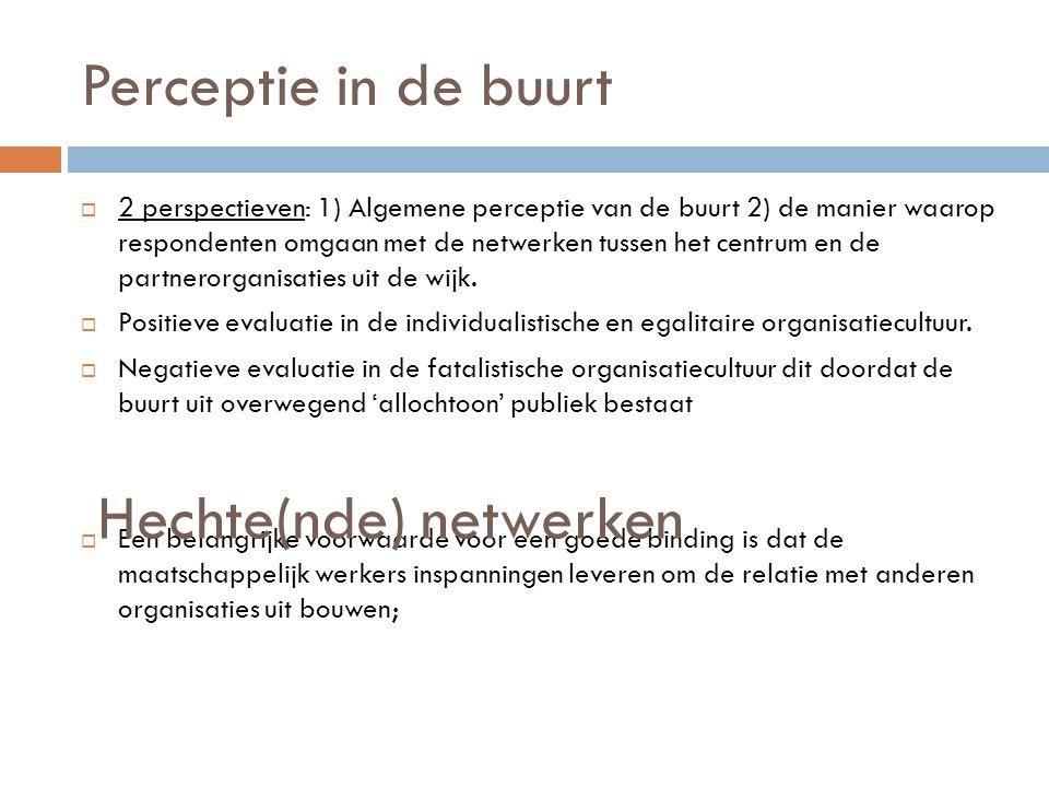 Perceptie in de buurt  2 perspectieven: 1) Algemene perceptie van de buurt 2) de manier waarop respondenten omgaan met de netwerken tussen het centru