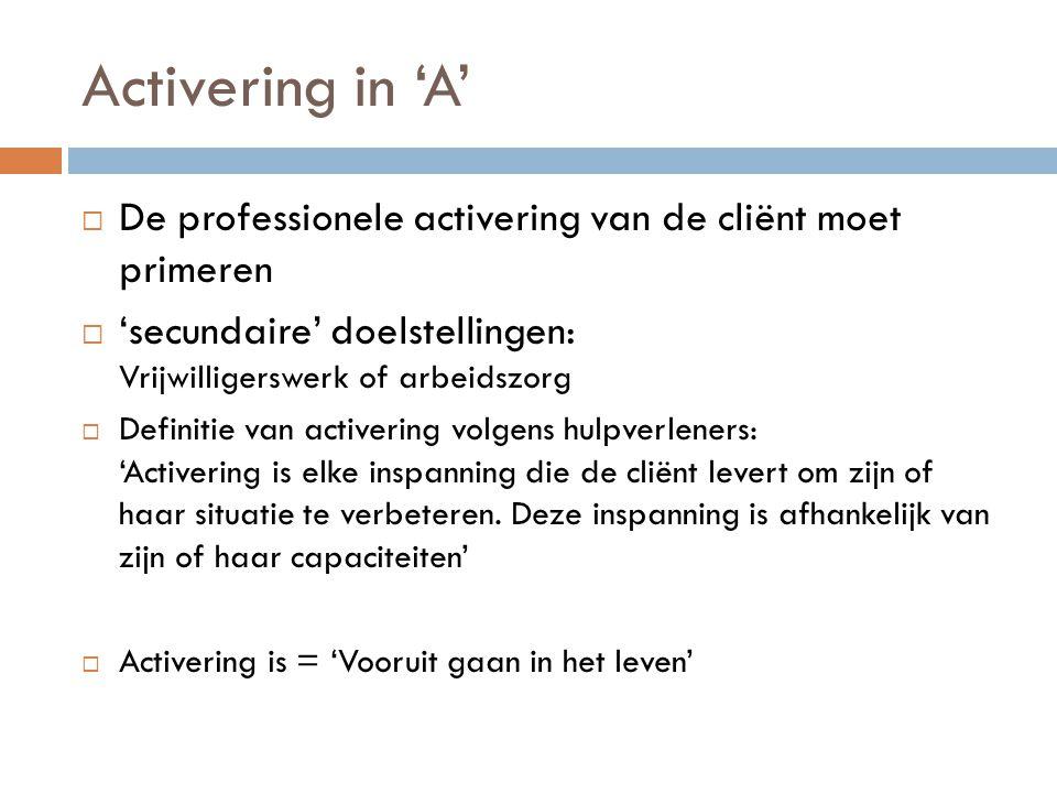 Activering in 'A'  De professionele activering van de cliënt moet primeren  'secundaire' doelstellingen: Vrijwilligerswerk of arbeidszorg  Definitie van activering volgens hulpverleners: 'Activering is elke inspanning die de cliënt levert om zijn of haar situatie te verbeteren.