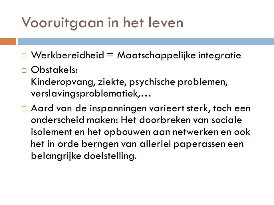 Vooruitgaan in het leven  Werkbereidheid = Maatschappelijke integratie  Obstakels: Kinderopvang, ziekte, psychische problemen, verslavingsproblemati