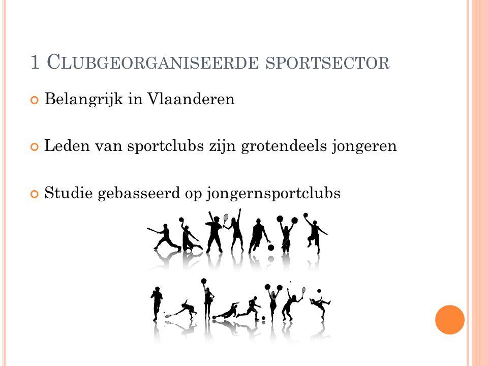 1 C LUBGEORGANISEERDE SPORTSECTOR Belangrijk in Vlaanderen Leden van sportclubs zijn grotendeels jongeren Studie gebasseerd op jongernsportclubs