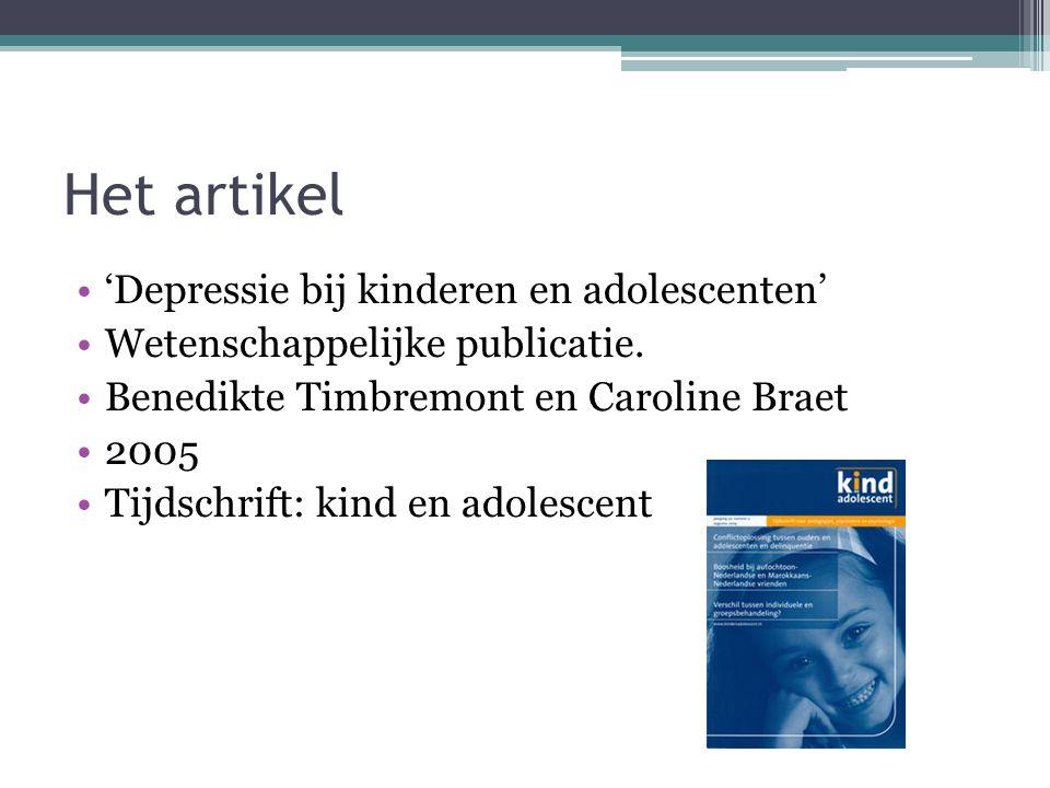 Het artikel 'Depressie bij kinderen en adolescenten' Wetenschappelijke publicatie.