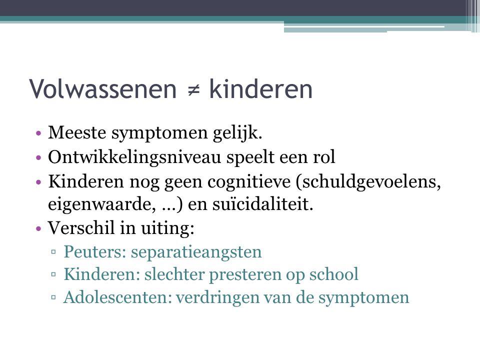 Assessment Zelfbeoordelingvragenslijsten en vragenlijsten voor anderen Kinder depressie schaal Globale screening: ▫Gedragsvragenlijst voor kinderen ▫Teachter's report form ▫Klinisch interview ▫Spelobservaties ▫Child assessment schedule