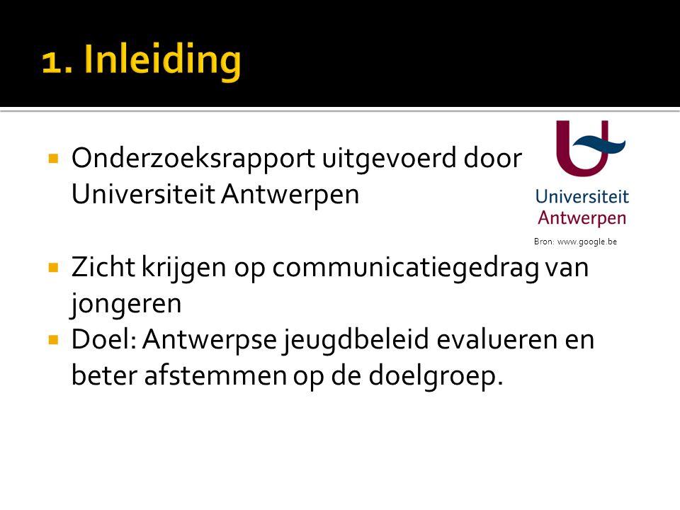  Onderzoeksrapport uitgevoerd door Universiteit Antwerpen  Zicht krijgen op communicatiegedrag van jongeren  Doel: Antwerpse jeugdbeleid evalueren en beter afstemmen op de doelgroep.