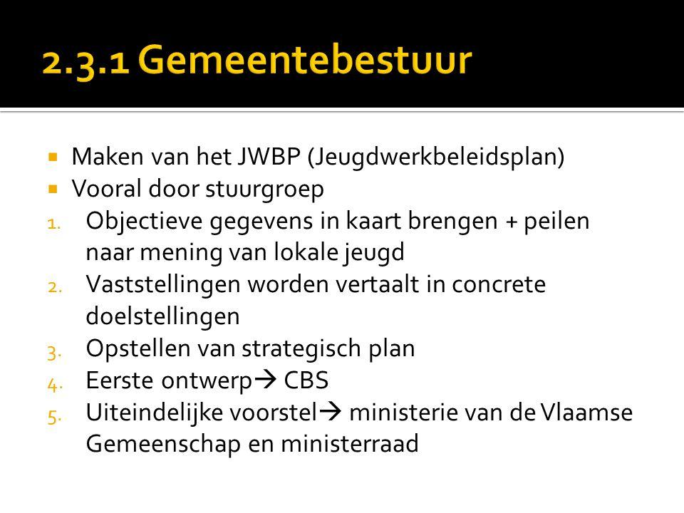  Maken van het JWBP (Jeugdwerkbeleidsplan)  Vooral door stuurgroep 1.